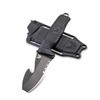 BENCHMADE 112 H2O FIXED Dive Rescue Knife - Black Serrated w/Rescue Hook- Authorised Aust Retailer