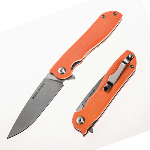 REAL STEEL KNIVES 7421 E801 Megalodon G10 Orange Folding Knife - Authorised Aust. Retailer